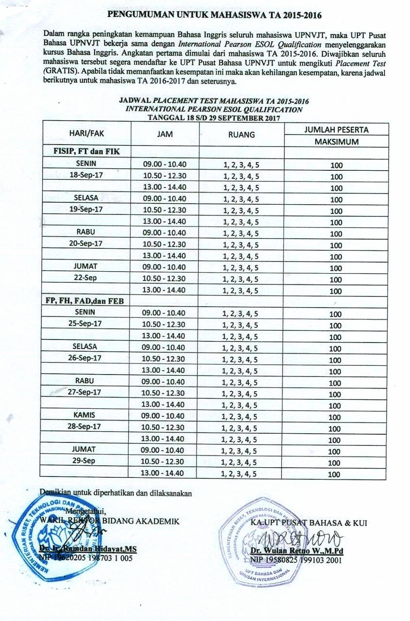 PENGUMUMAN UNTUK MAHASISWA TA 2015-2016